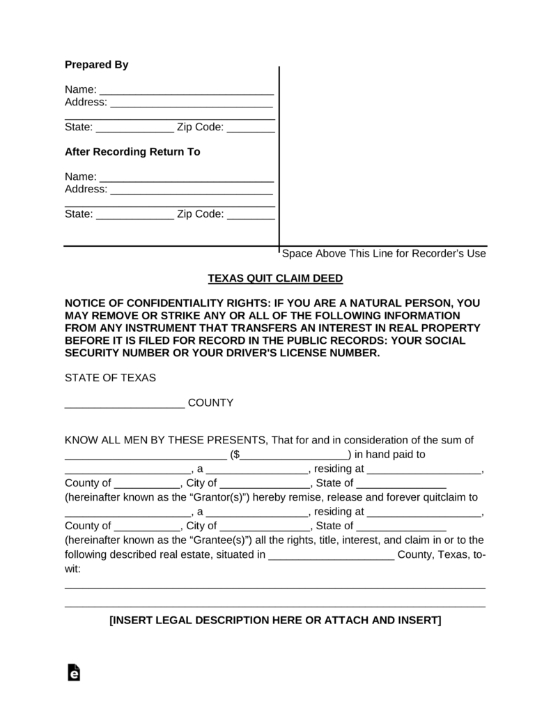 Free Texas Quit Claim Deed Form - Pdf | Word | Eforms – Free - Free Printable Quit Claim Deed Washington State Form