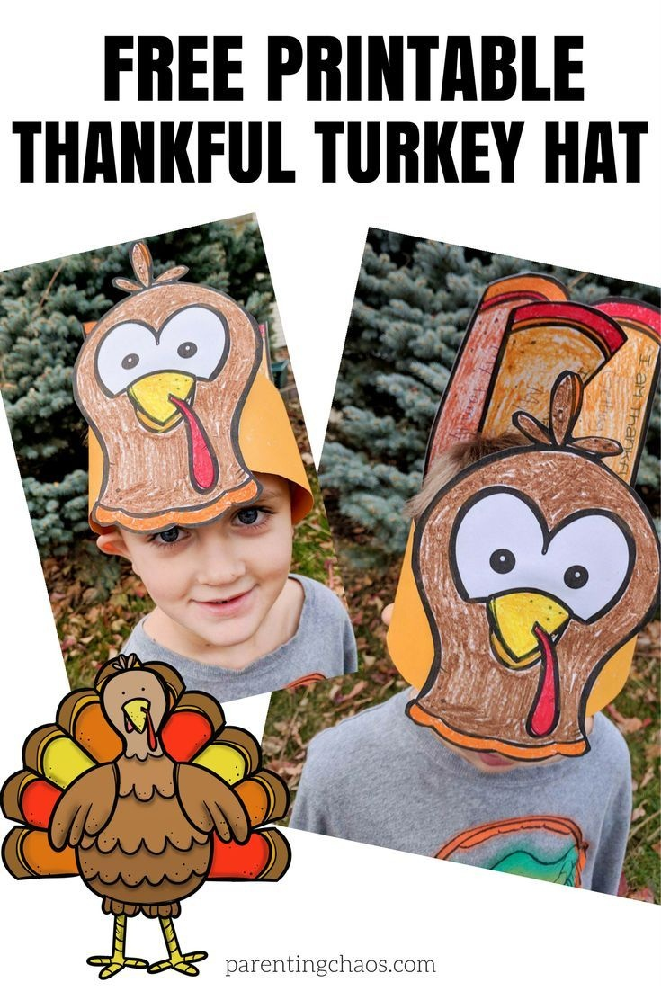 """Free """"thankful"""" Turkey Hat Printable For Kids 