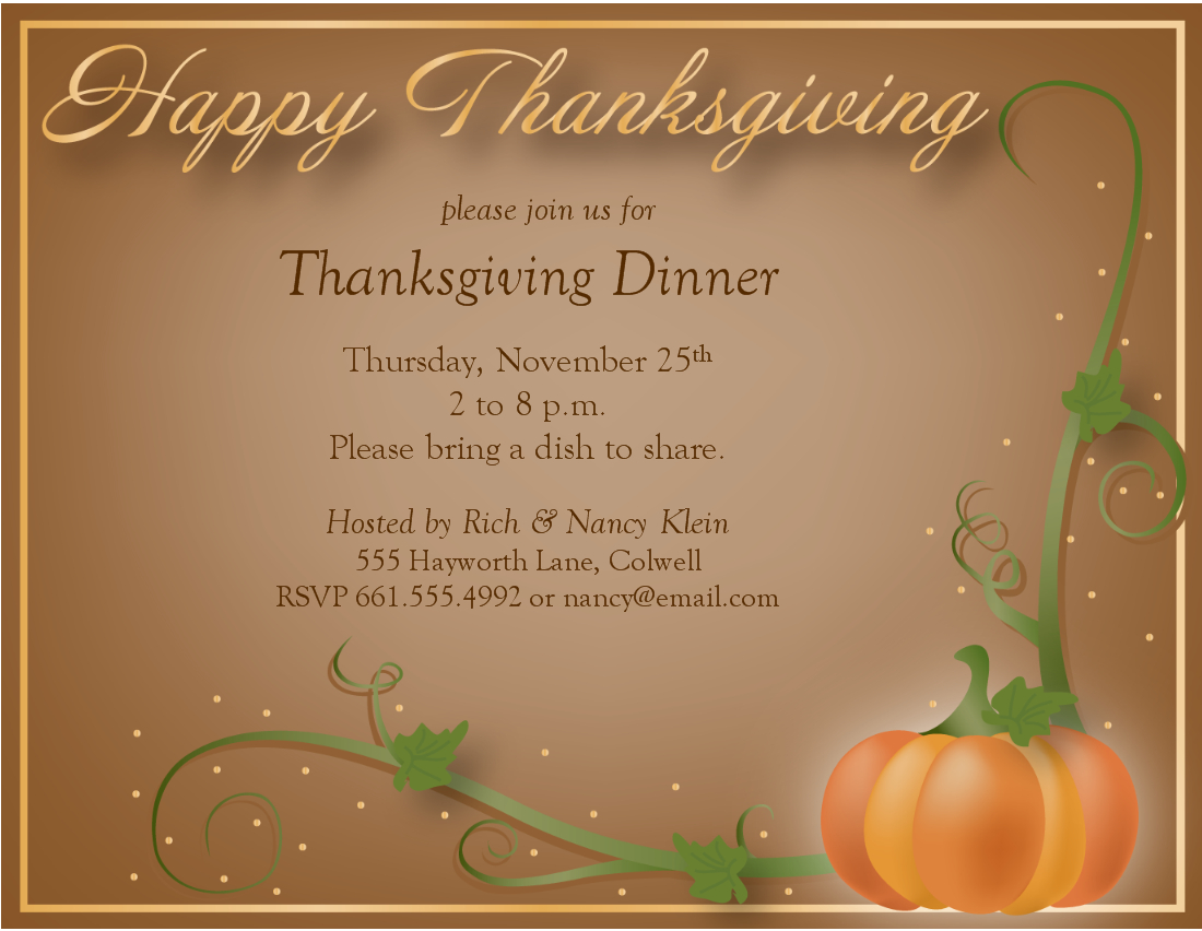 Free Thanksgiving Dinner Invitations Templates – Happy Easter - Free Printable Thanksgiving Dinner Invitation Templates