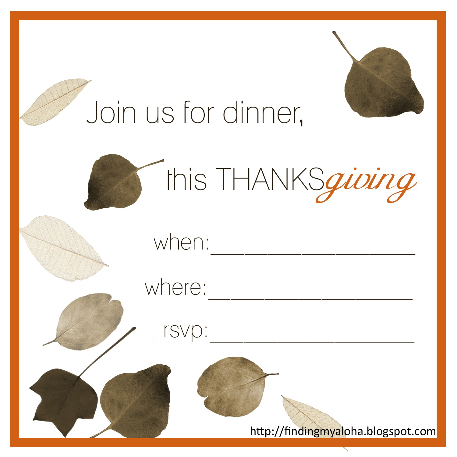Free Thanksgiving Invitation Templates. Free Printable Thanksgiving - Free Printable Thanksgiving Invitation Templates