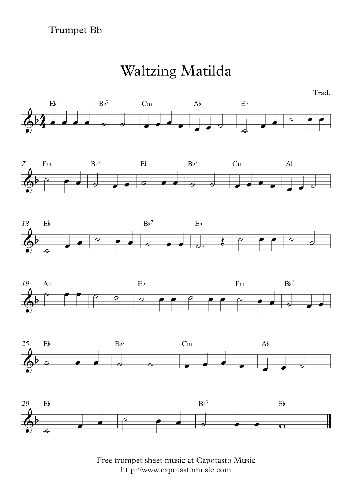 Free Trumpet Sheet Music | Waltzing Matilda - Free Printable Sheet Music For Trumpet