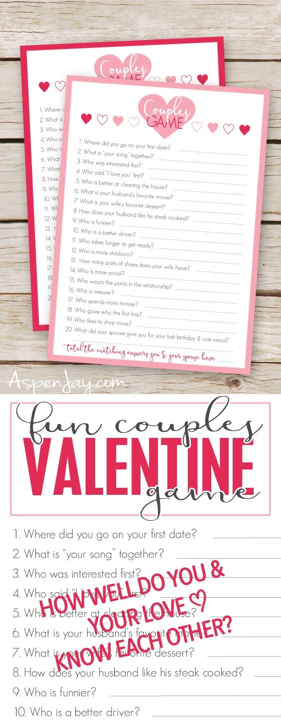 Free Valentines Couples Game Cards - Aspen Jay - Free Printable Valentine Games For Adults