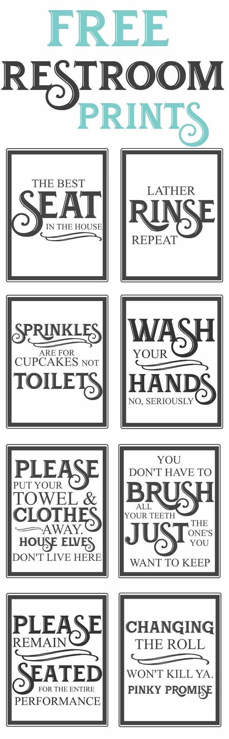 Free Vintage Bathroom Printables | Farmhouse | Diy Home Decor, Home - Free Printable Flush The Toilet Signs