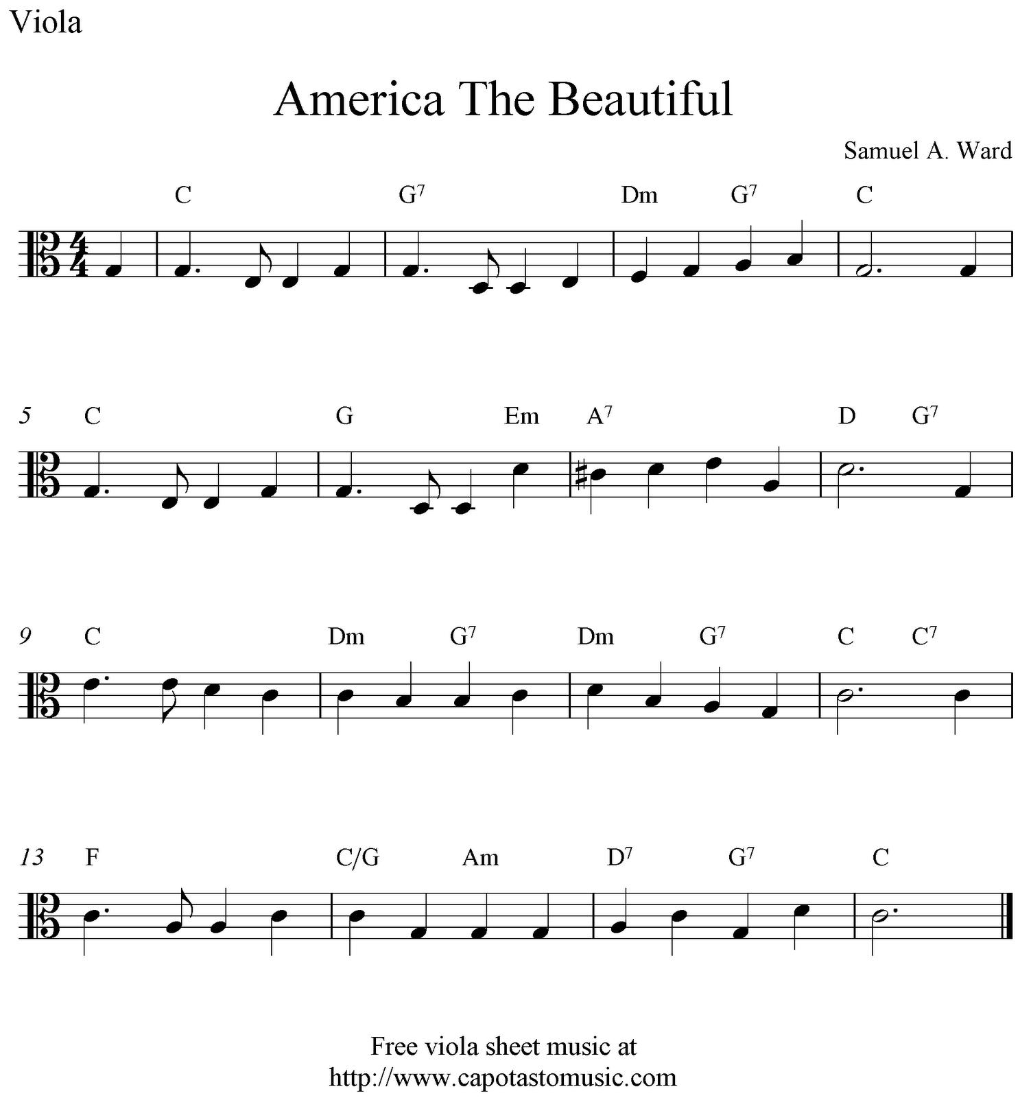 Free Viola Sheet Music, America The Beautiful   Viola Sheet Music In - Viola Sheet Music Free Printable