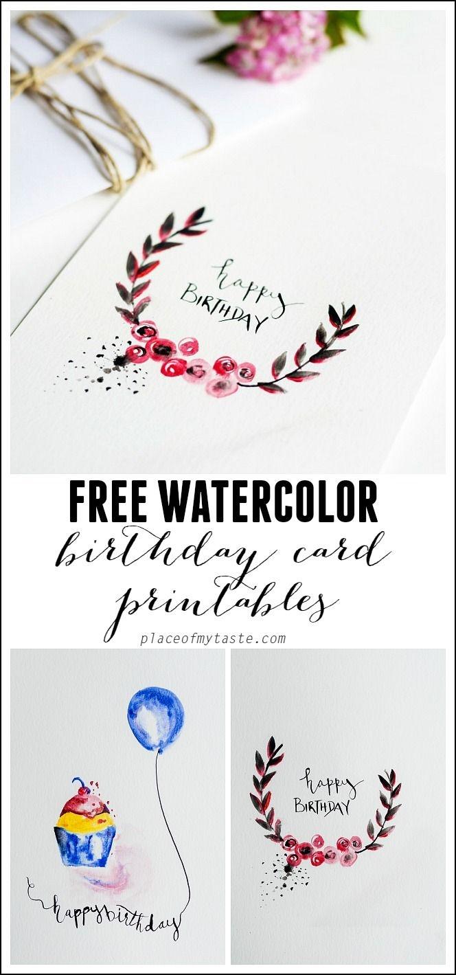 Free Watercolor Birthday Card Printables | Printables | Watercolor - Free Printable Birthday Cards For Mom