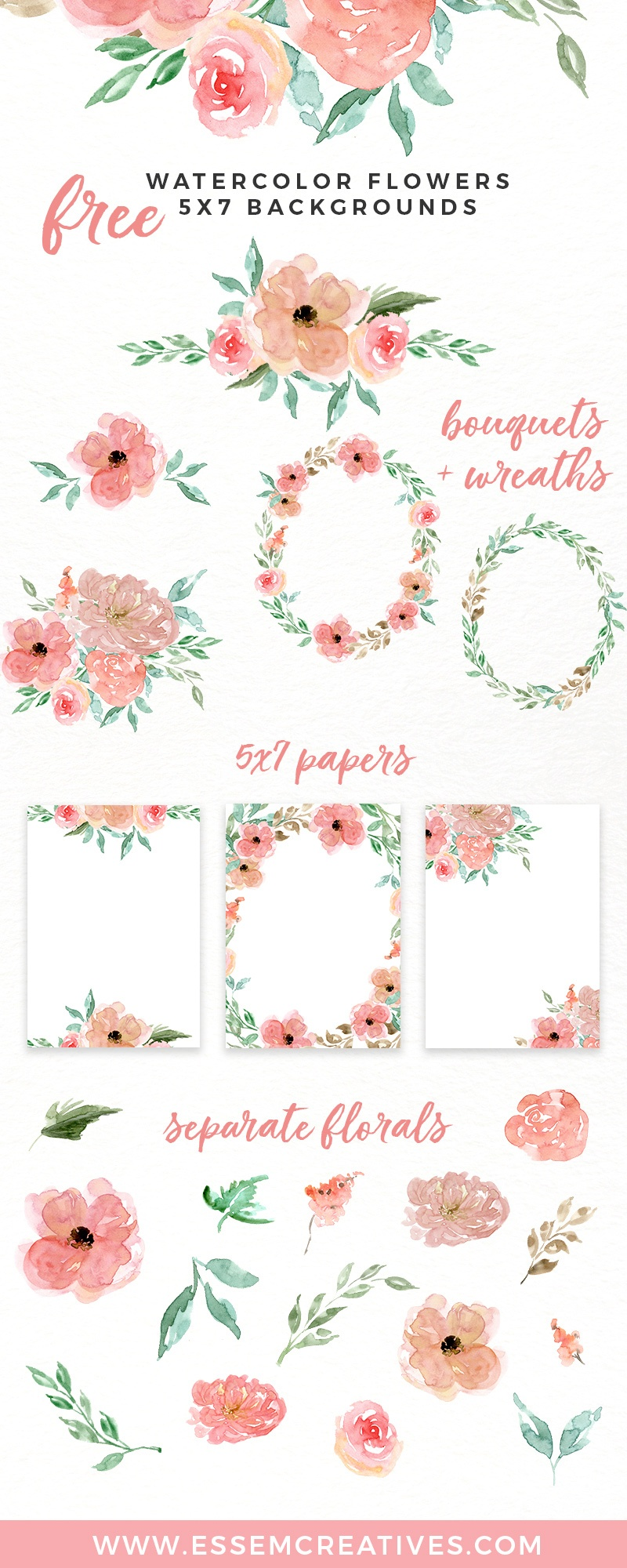 Free Watercolor Flowers Clipart, Floral Wreaths, 5X7 Borders - Free Printable Clipart Of Flowers