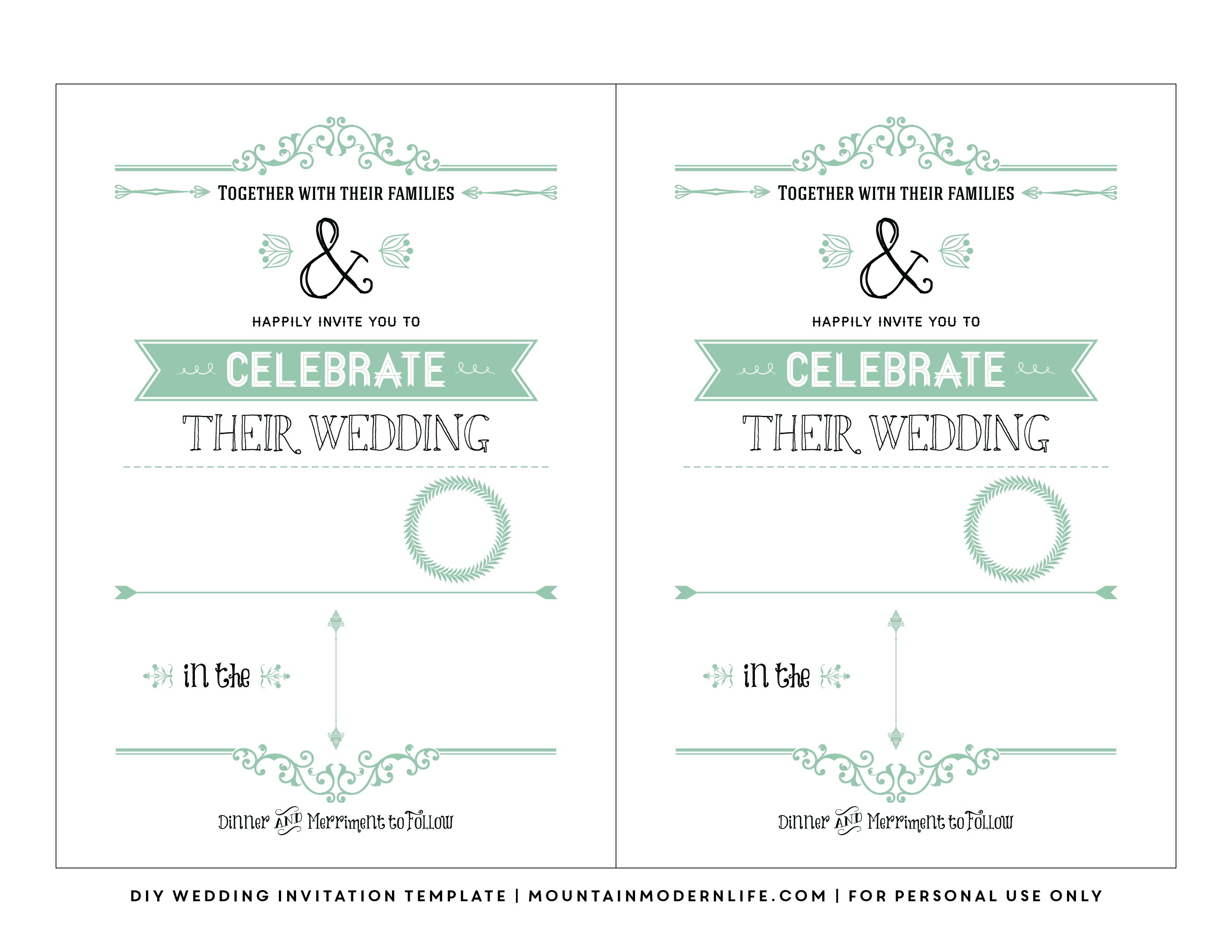 Free Wedding Invitation Template   Mountainmodernlife - Free Printable Wedding Invitations With Photo