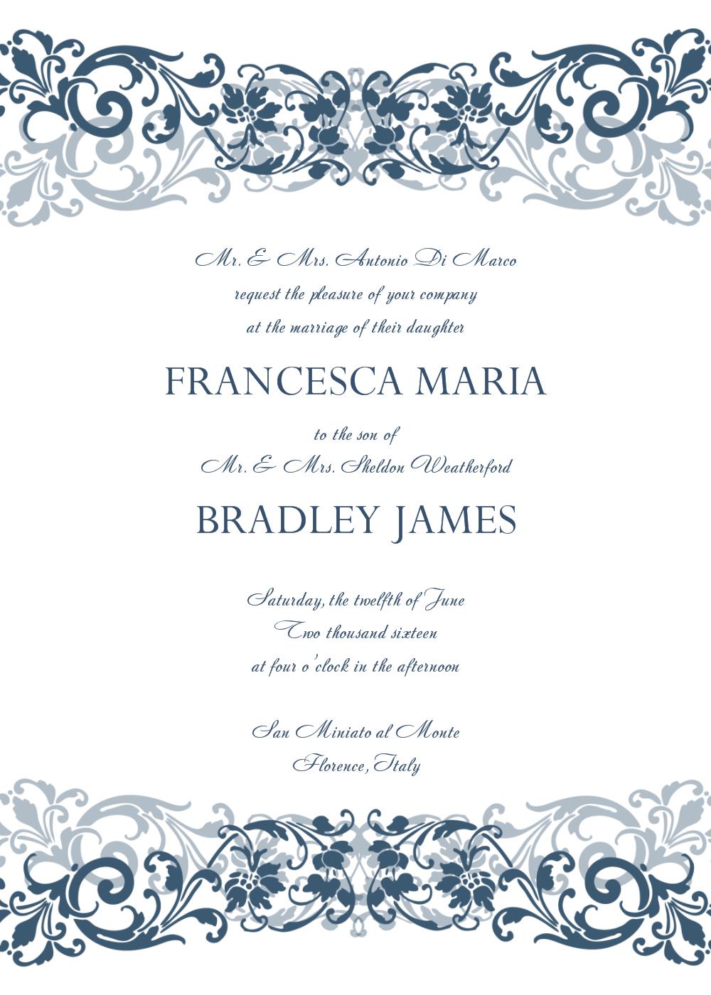 Free Wedding Invitation Templates For Word | Wedding Invitation - Free Printable Wedding Invitation Templates