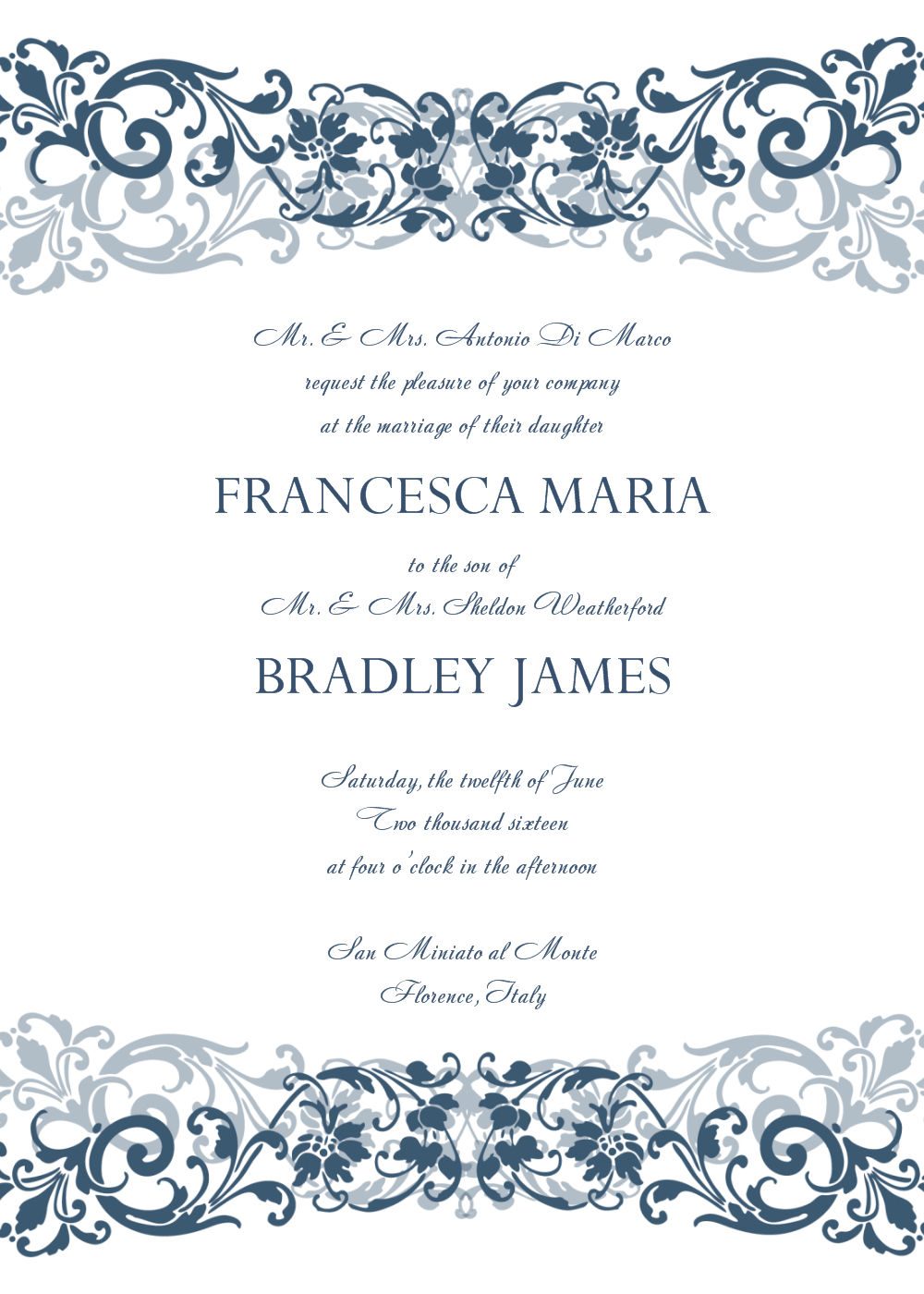 Free Wedding Invitation Templates For Word | Wedding Invitation - Free Printable Wedding Scrolls