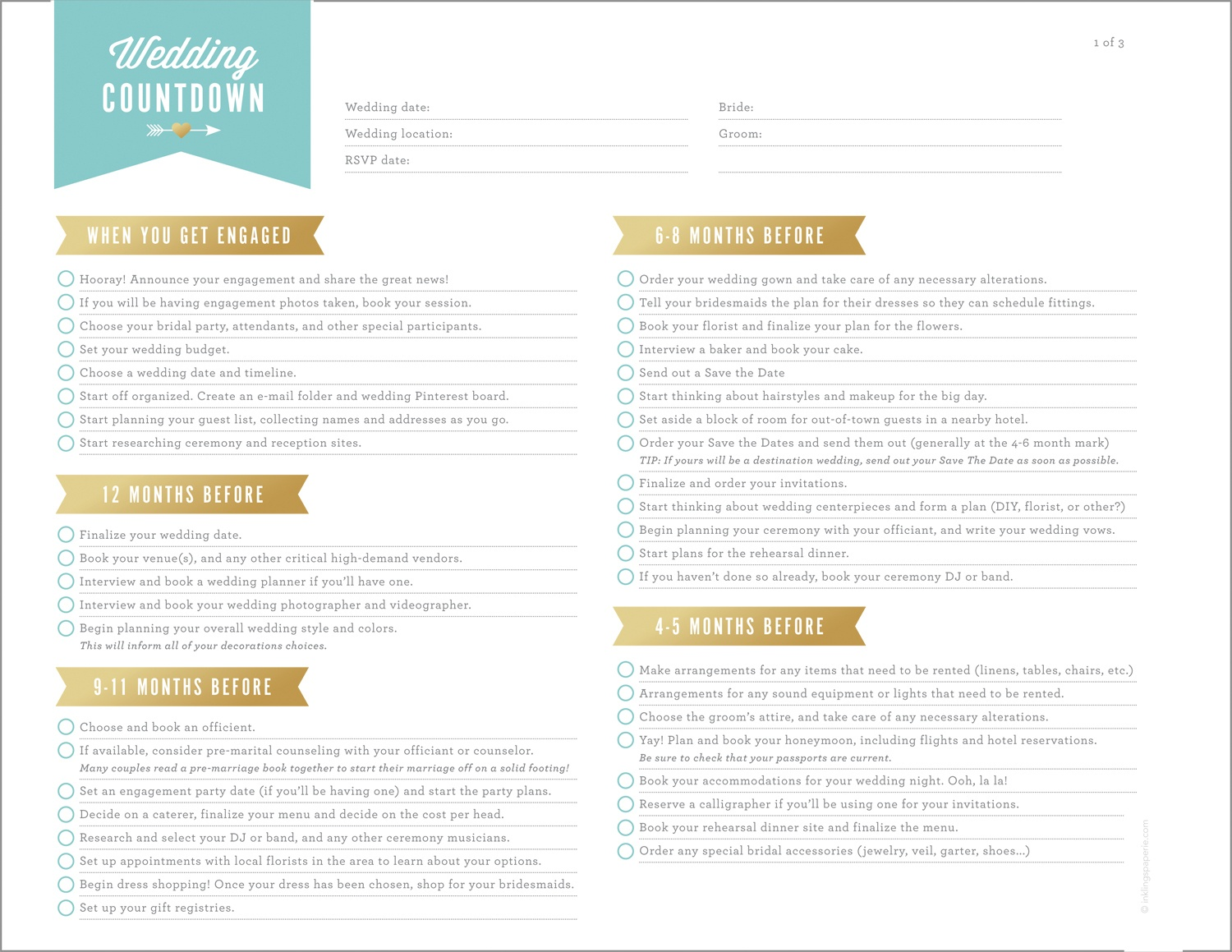 Free Wedding Planning Printables & Checklists - Free Printable Wedding Checklist