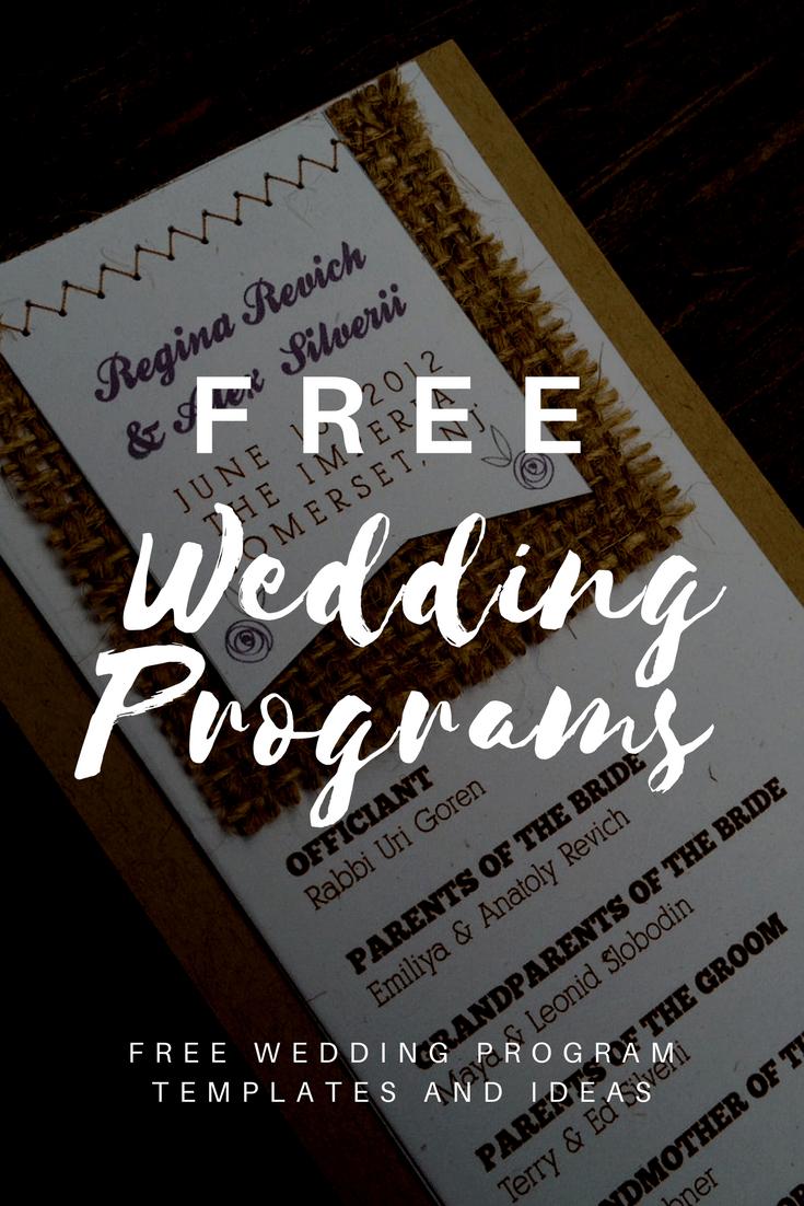 Free Wedding Program Templates   Wedding Program Ideas - Free Printable Wedding Program Templates