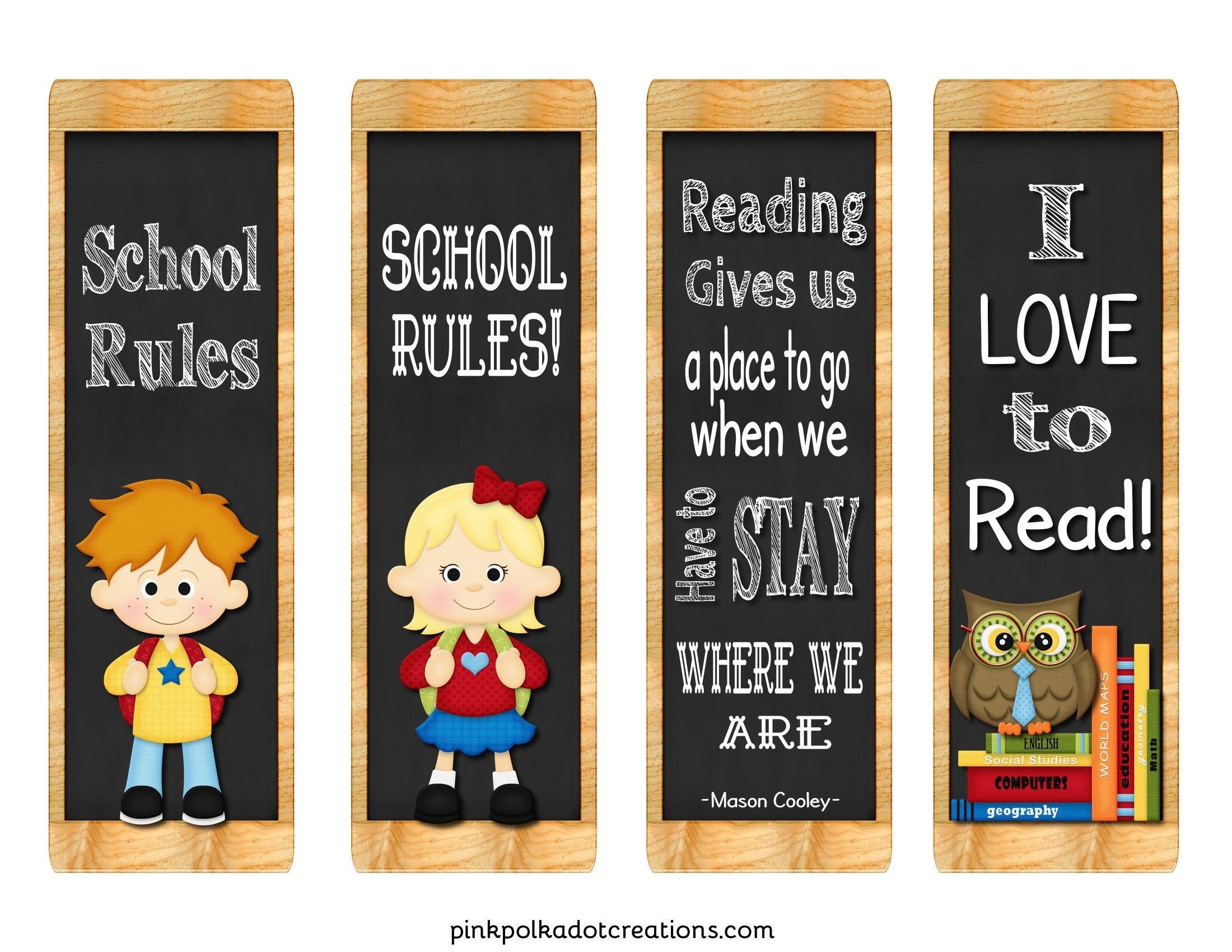 Freebie! Back To School Book Marks | Pink Polka Dot Printables - Free Printable Back To School Bookmarks