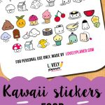 Freebie} Cute Food Stickers For Your Planner | Filofax | Food   Free Printable Kawaii Stickers