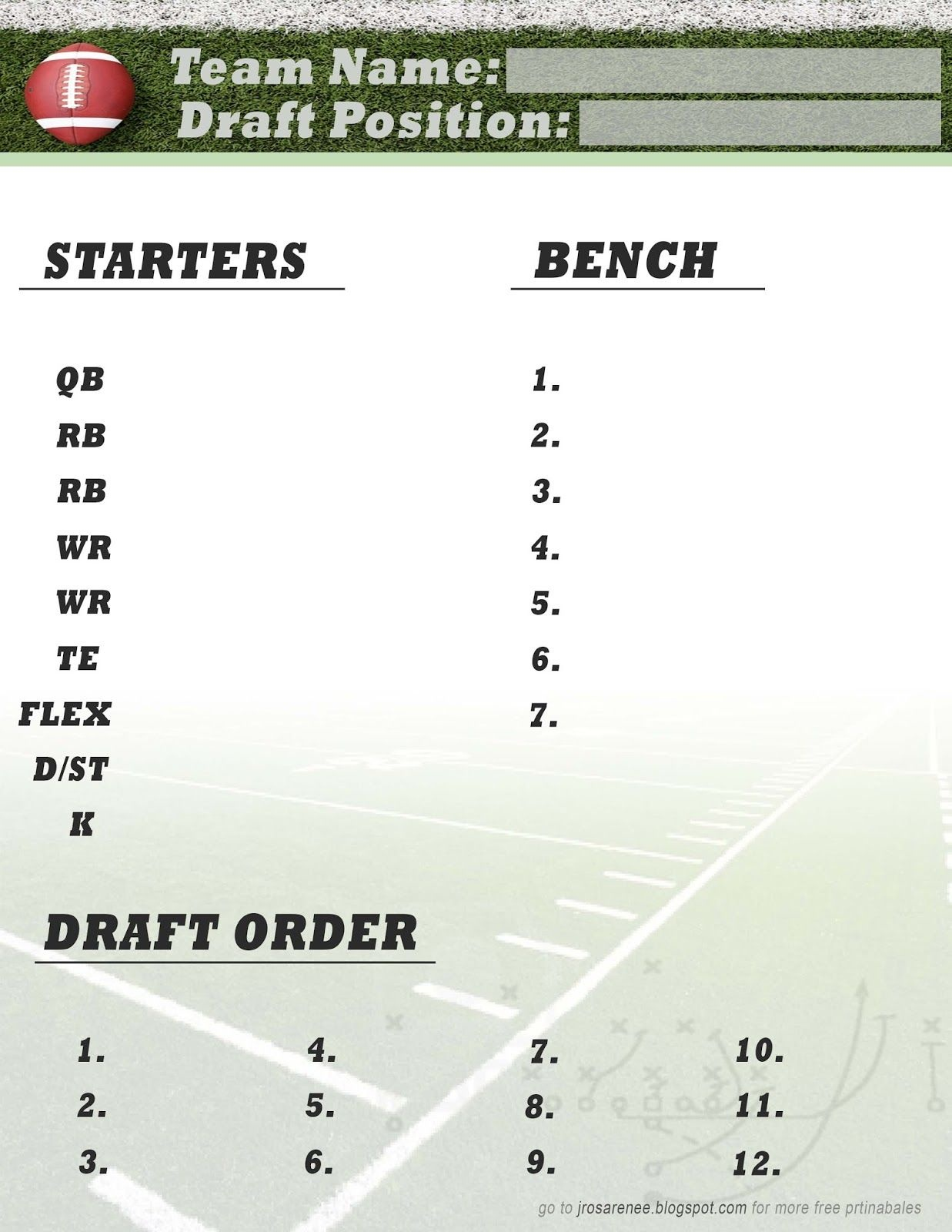 Freebie Friday, Fantasy Football Roster #free #printable | Great - Free Fantasy Football Printable Draft Sheets