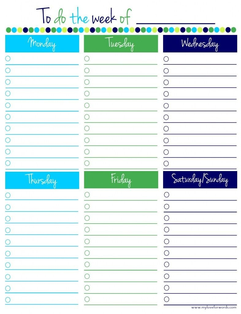 Freebie Friday: Weekly To Do List | Thrifty Thursday @ Lwsl | To Do - Weekly To Do List Free Printable