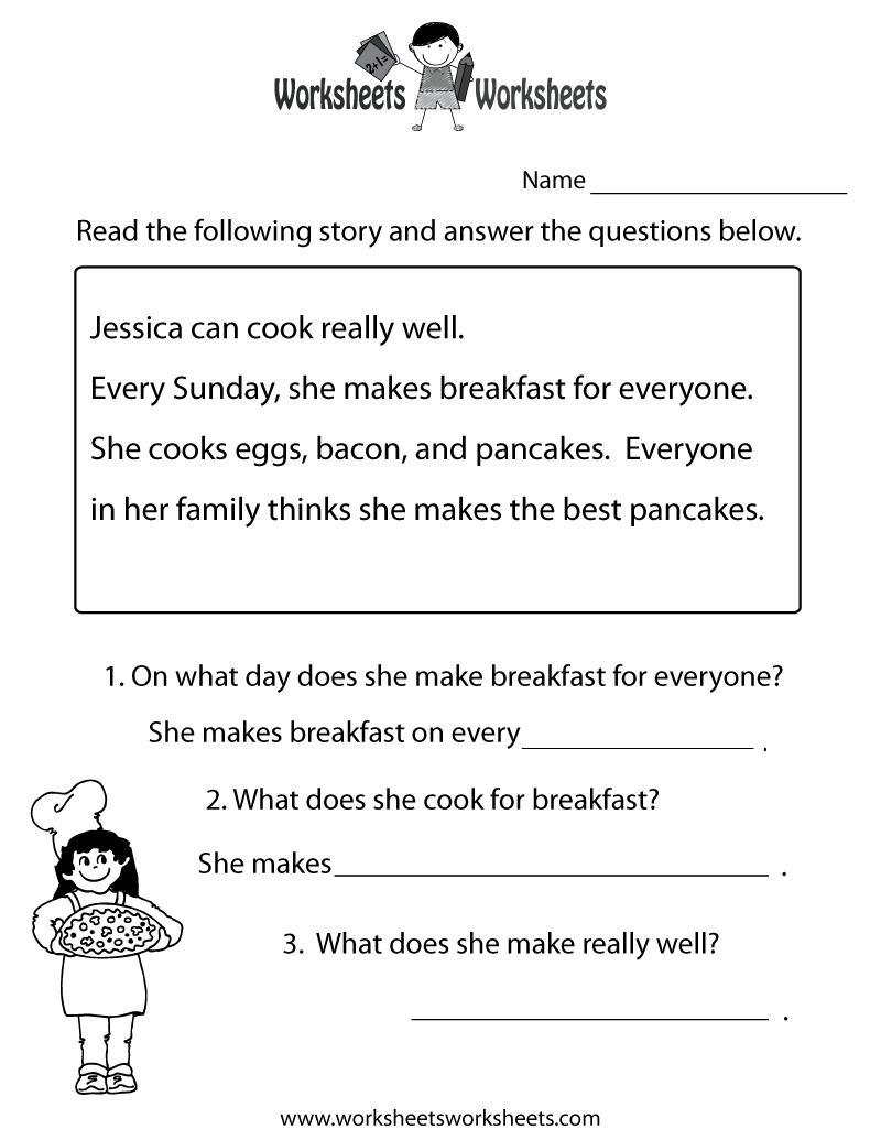 Freeeducation/worksheets For Second Grade    Comprehension - Free Printable Ela Worksheets