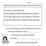 Freeeducation/worksheets For Second Grade |  Comprehension   Free Printable Reading Worksheets