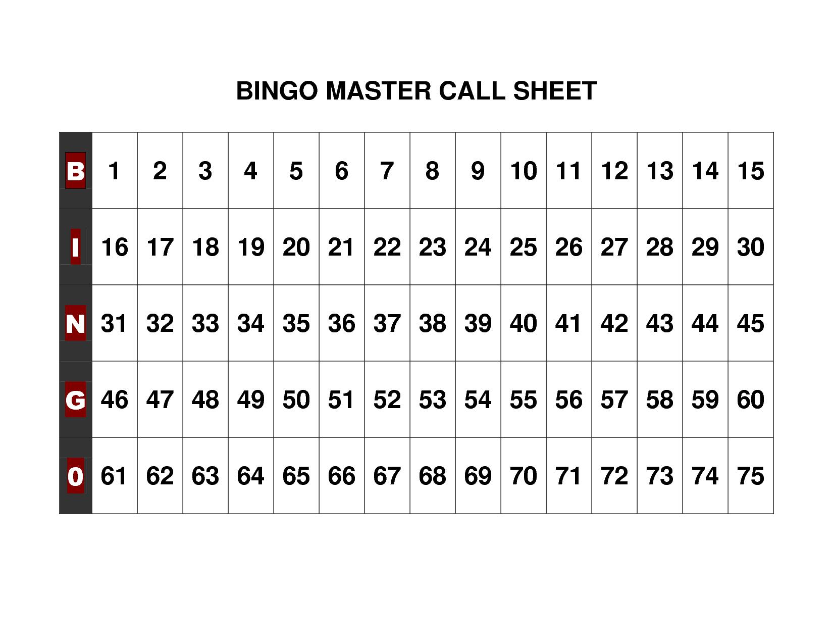 Free+Printable+Bingo+Call+Sheet | Bingo | Bingo Calls, Bingo, Free - Free Printable Bingo Cards 1 75