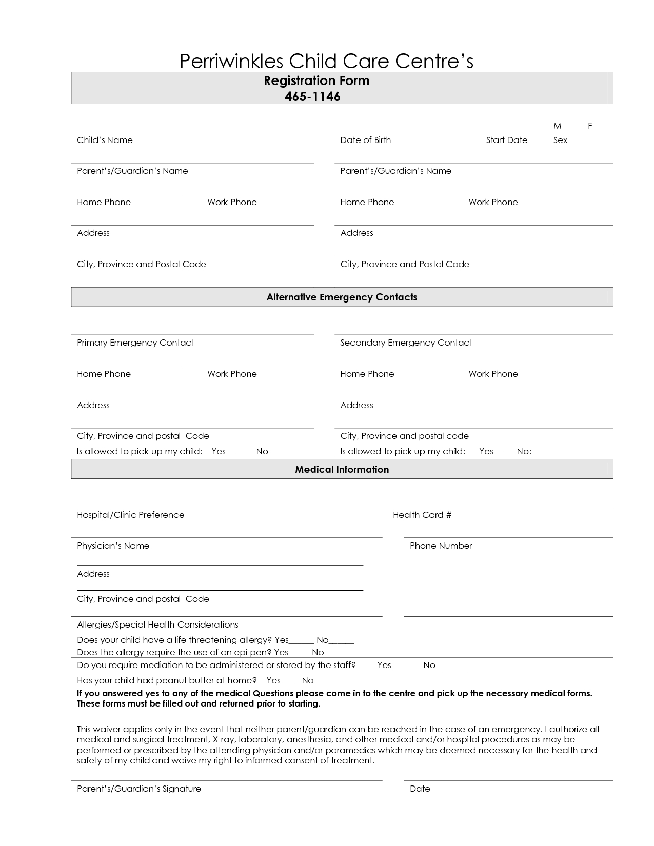 Free+Printable+Day+Care+Registration+Forms | Babysitting | Daycare - Free Printable Membership Forms