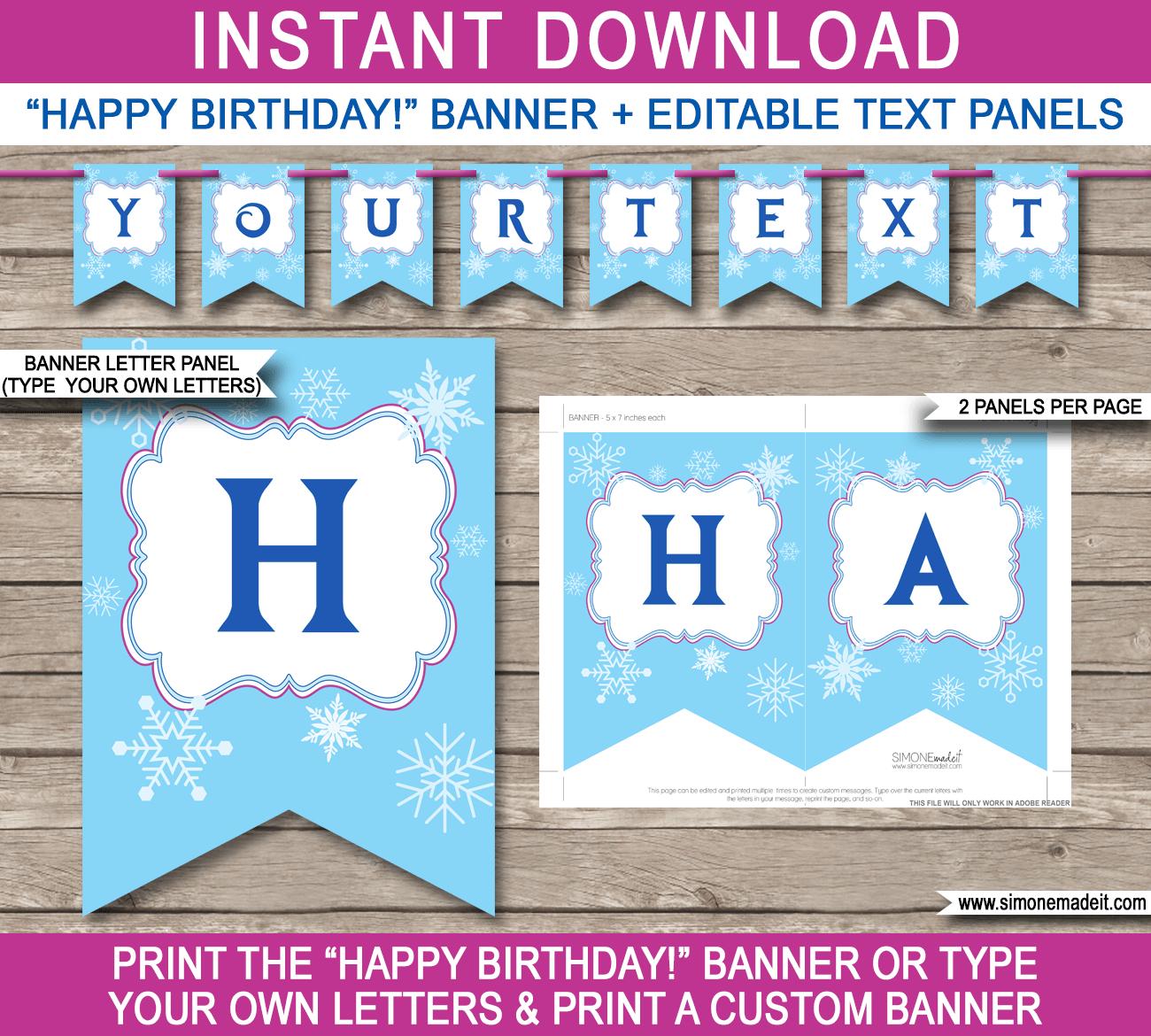 Frozen Party Banner Template | Birthday Banner | Editable Bunting - Frozen Birthday Banner Printable Free