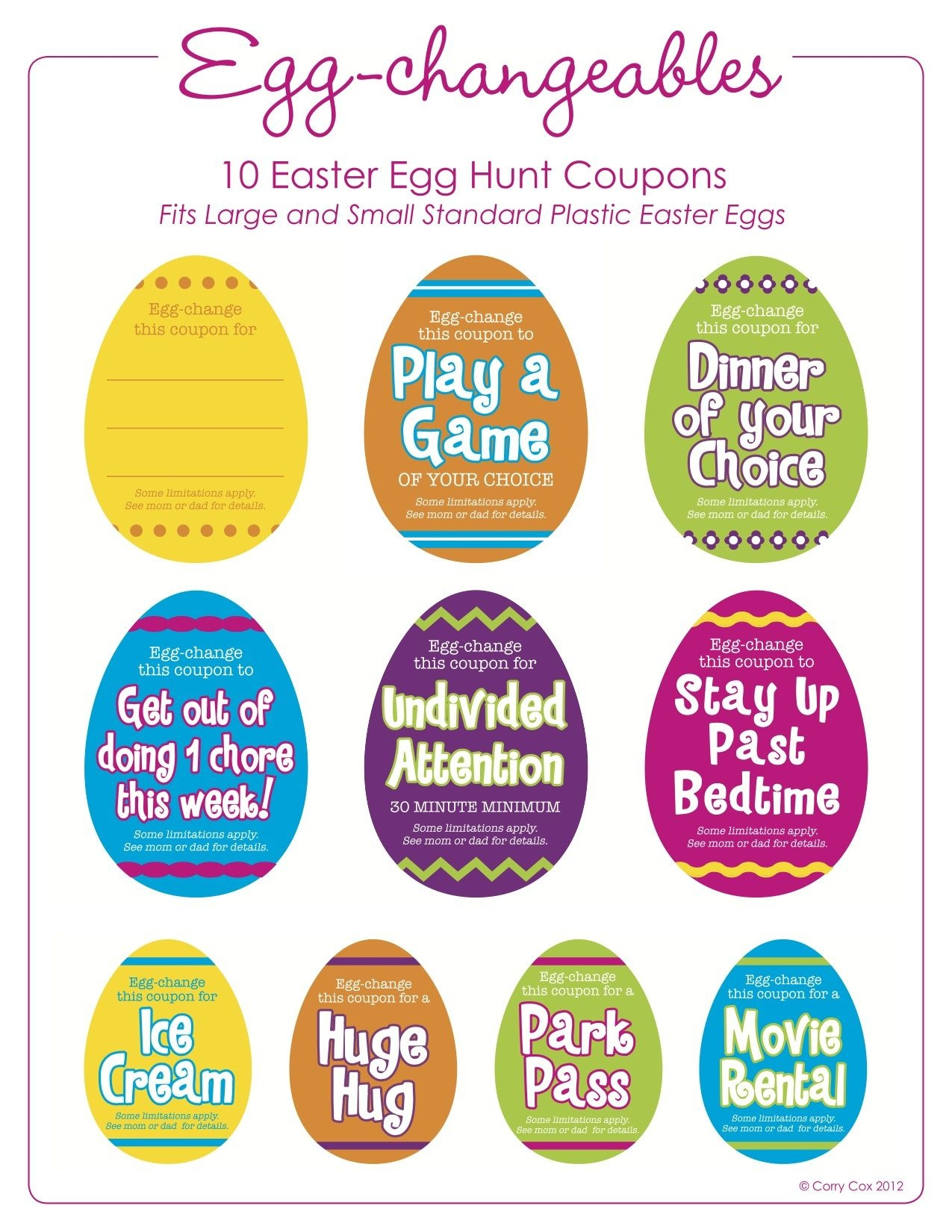 Fun Things To Put In Your Egg Hunt! Easter Egg Fillers (Free - Free Printable Easter Stuff