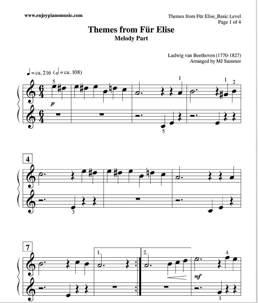 Fur Elise Piano Duet Sheet Music (Easy And Free) For Kids Or - Free Printable Classical Sheet Music For Piano