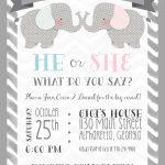 Gender Reveal   Party Invitation   Elephant Theme   Little Peanut   Free Printable Gender Reveal Invitations