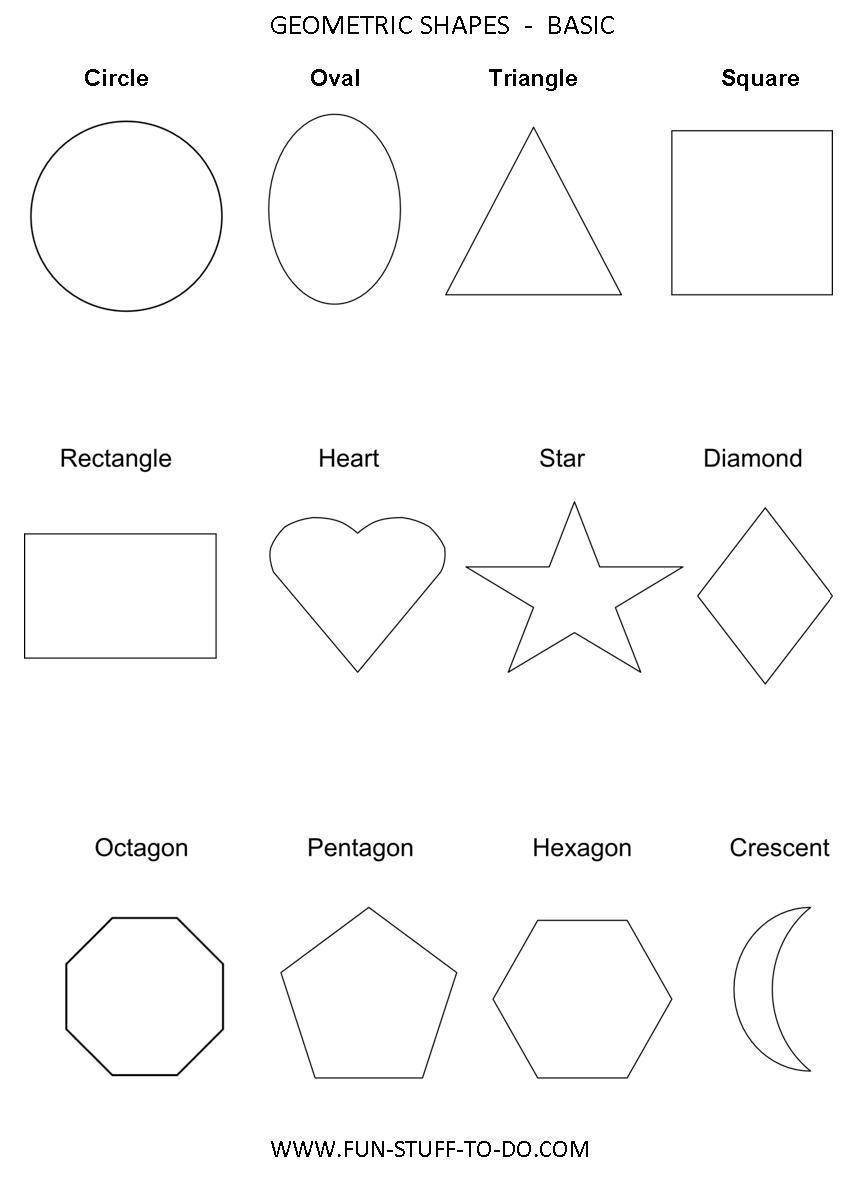 Geometric Shapes Worksheets | Free To Print - Free Printable Shapes Templates