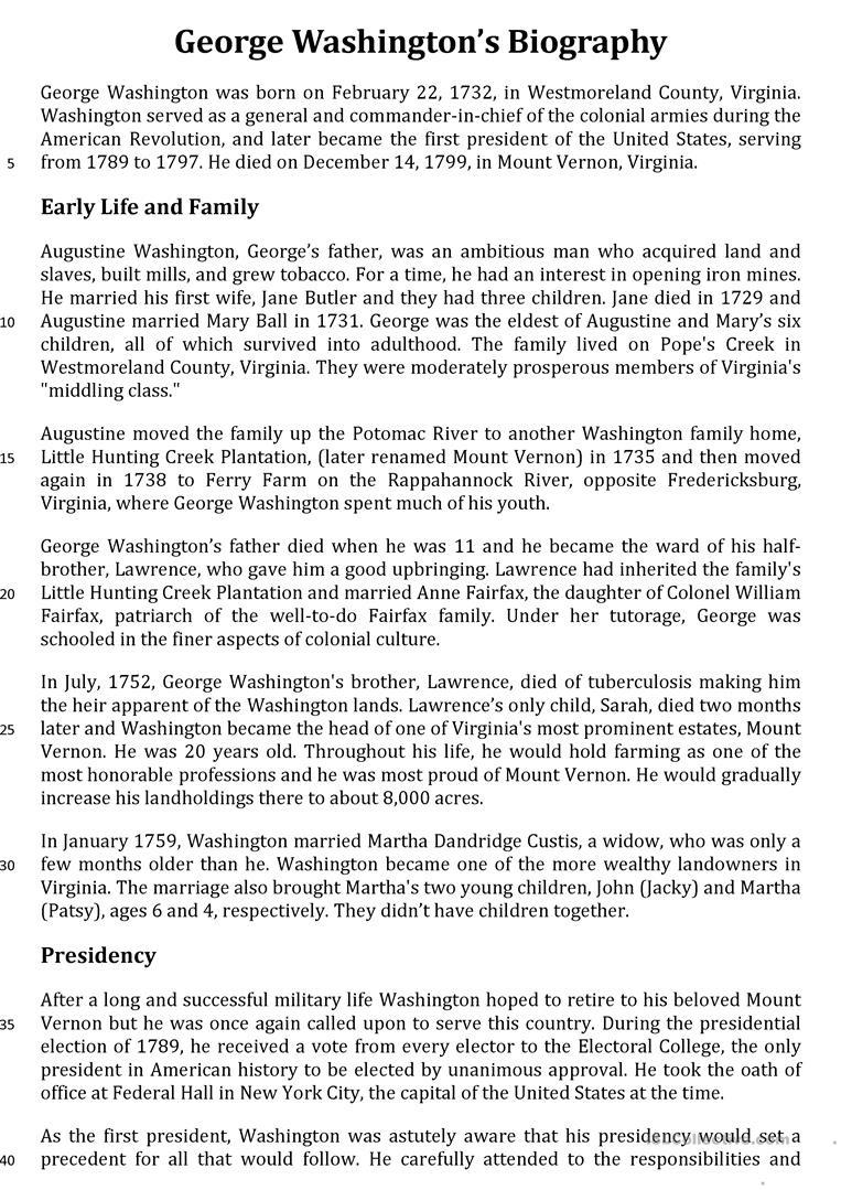 George Washington's Biography Worksheet - Free Esl Printable - Free Printable George Washington Worksheets