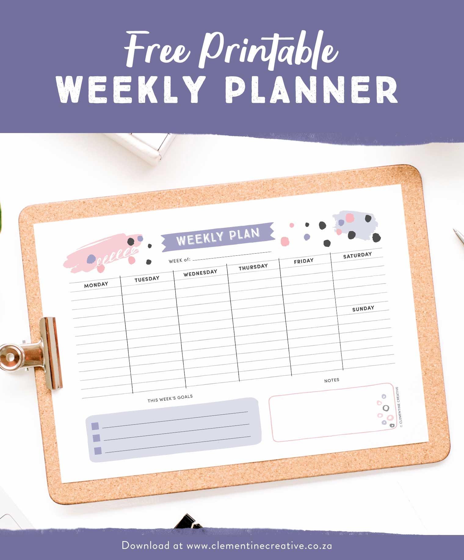 Get Organised With This Free Printable Weekly Planner - Cute - Free Printable Images