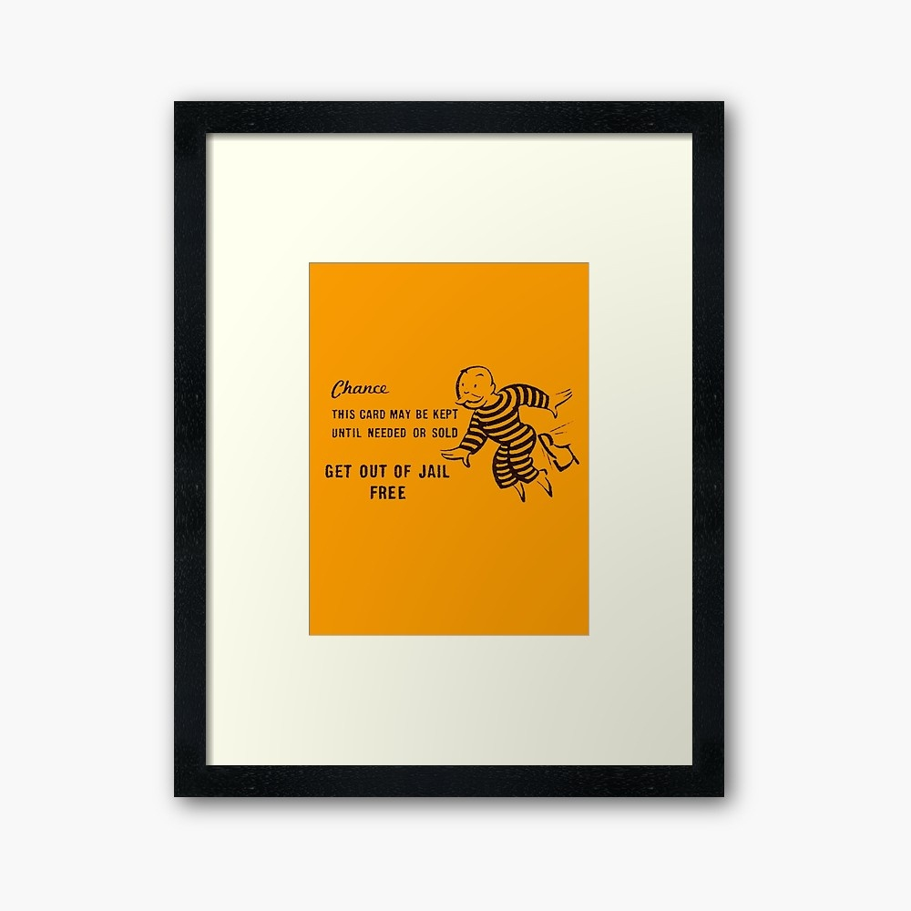 Get Out Of Jail Free | Framed Art Print - Get Out Of Jail Free Card Printable