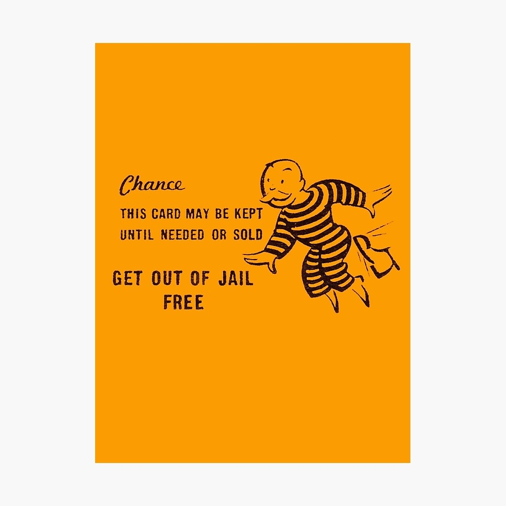 Get Out Of Jail Free | Photographic Print - Get Out Of Jail Free Card Printable