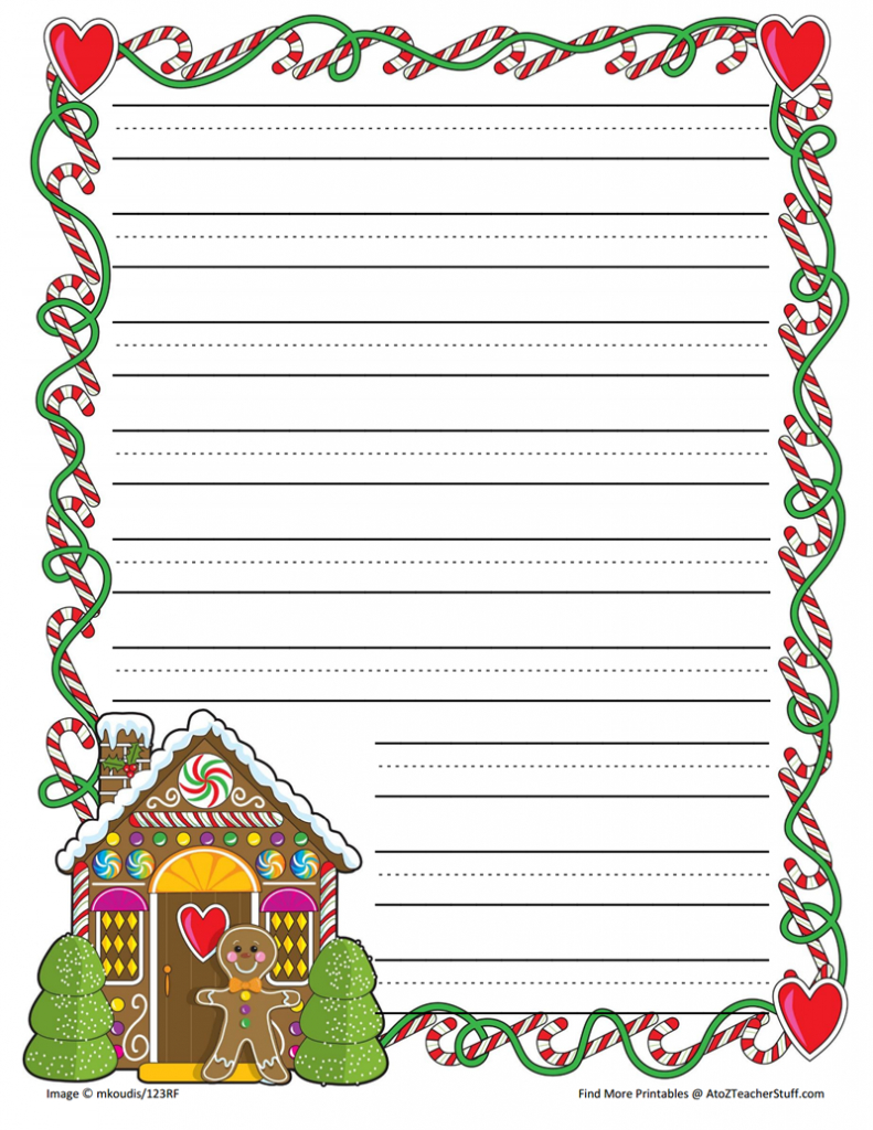 Gingerbread Printable Border Paper With And Without Lines | A To Z - Writing Borders Free Printable