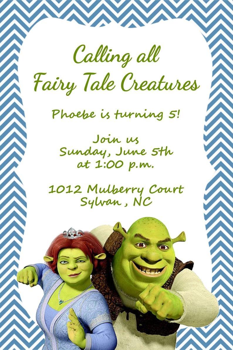 Girls Or Boys Shrek Printable Birthday Party Invitation | Etsy - Free Printable Shrek Birthday Invitations