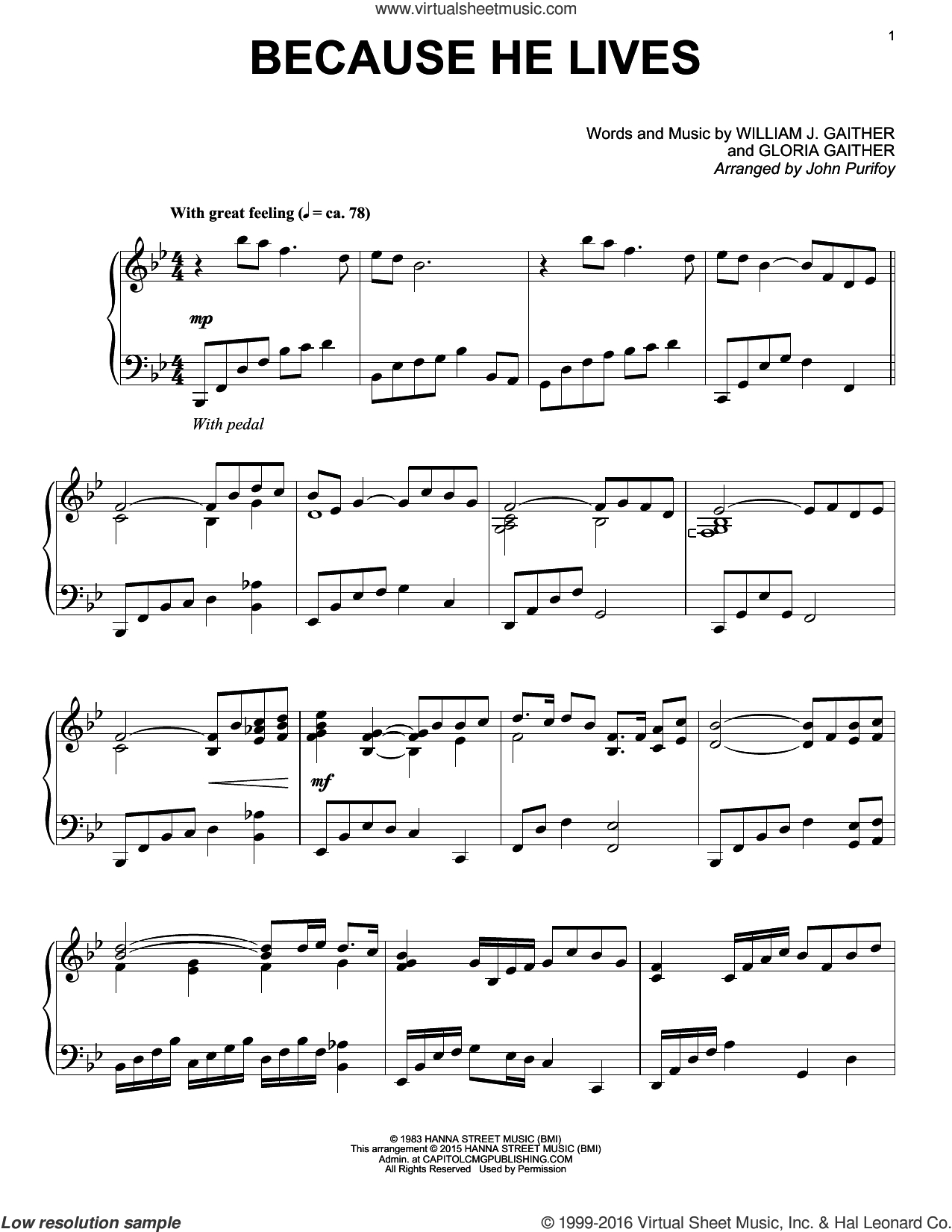 Gloria Gaither - Because He Lives Sheet Music For Piano Solo V3 - Free Printable Gospel Sheet Music For Piano