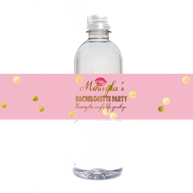 Gold Bachelorette Party Personalized Water Bottle Labels | Etsy - Free Printable Water Bottle Labels Bachelorette