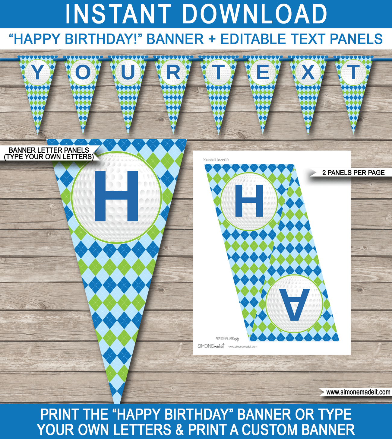 Golf Party Banner Template | Happy Birthday Banner | Editable Bunting - Free Printable Happy Birthday Banner Templates