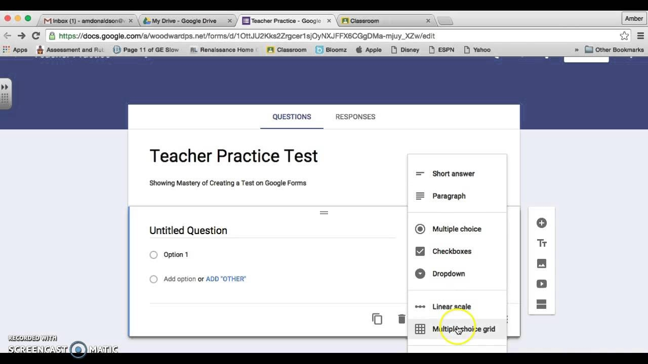 Google Classroom: Creating A Test - Youtube - Free Printable Test Maker