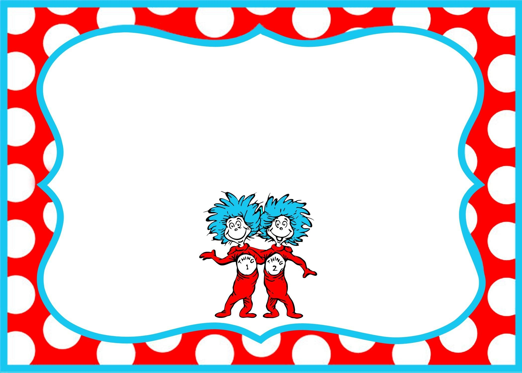 Gorgeous Dr Seuss Border Party Invitation Template According Newest - Dr Seuss Free Printable Templates