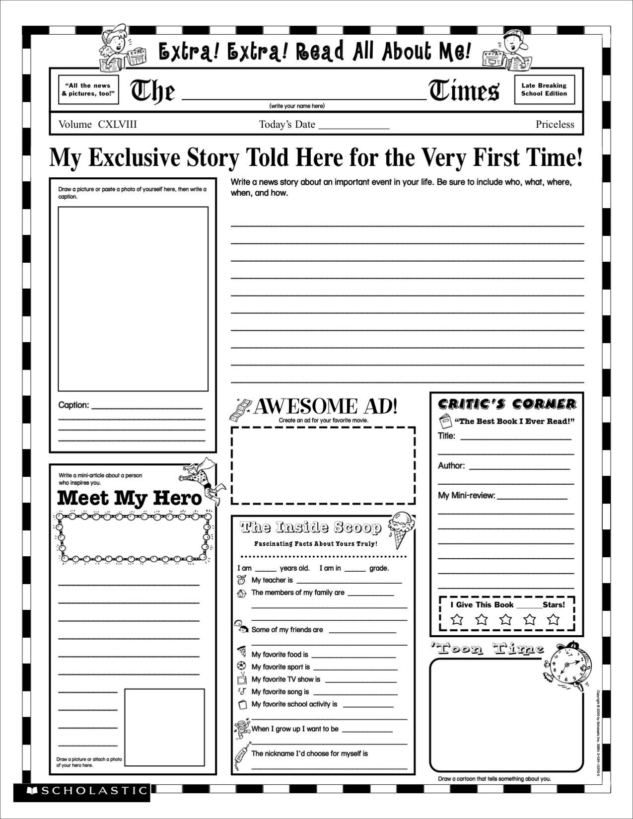 Grade-School Autobiography Report Worksheet … | Write About It - Free Printable Newspaper Templates For Students