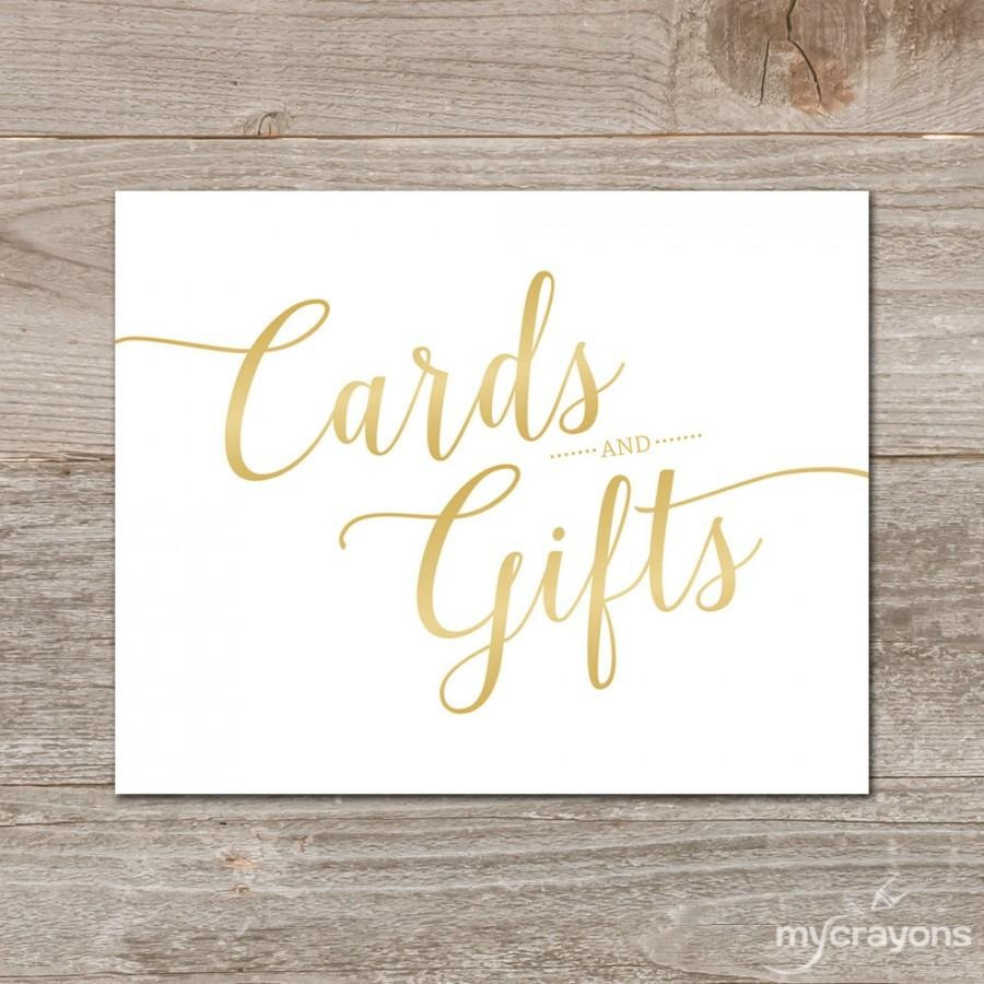 Gradient Gold Cards And Gifts Sign // Printable Wedding Card Sign - Cards Sign Free Printable