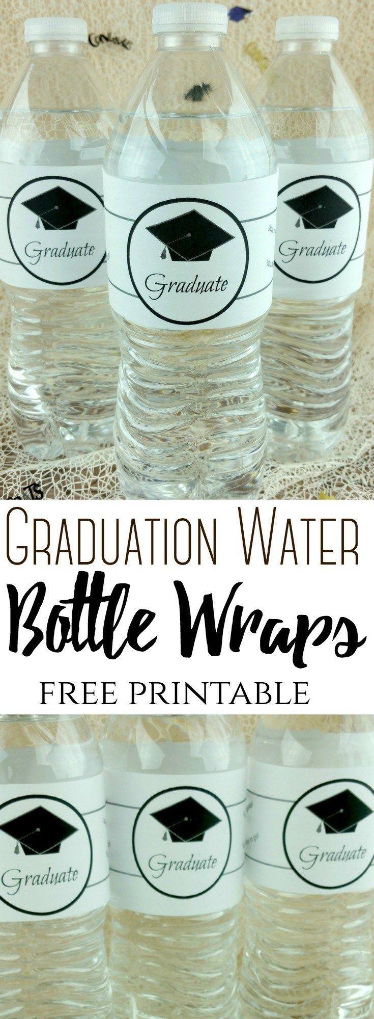 Graduation Water Bottle Wraps (Free Printable Label) #graduation - Free Printable Water Bottle Labels Graduation