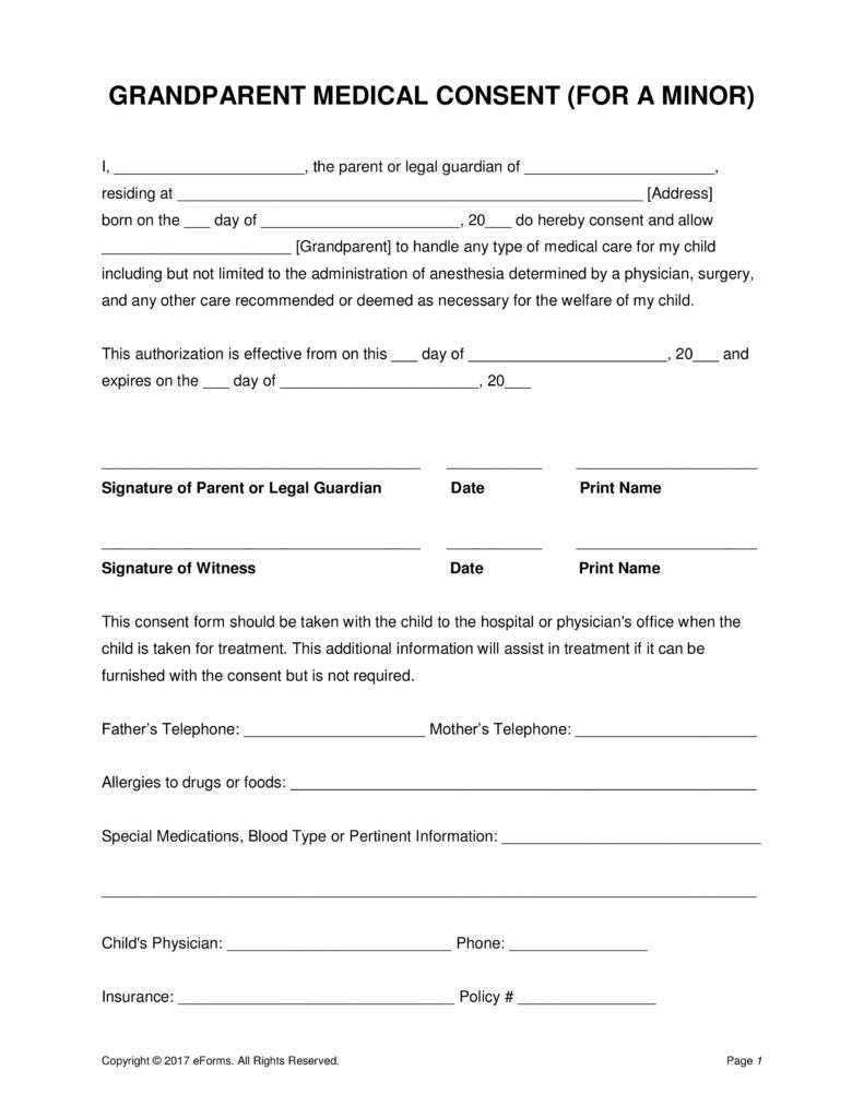 Grandparents' Medical Consent Form – Minor (Child)   Eforms – Free - Free Printable Child Guardianship Forms