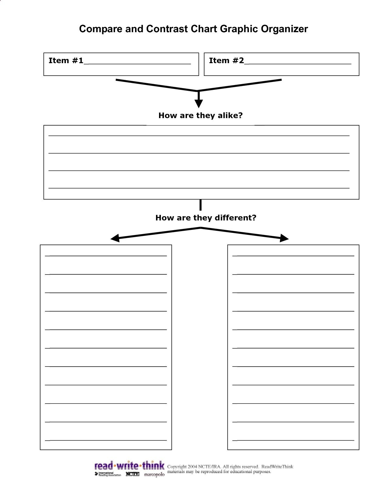 Graphic Organizer For A Compare/contrast Essay | Write Paper Service - Free Printable Compare And Contrast Graphic Organizer