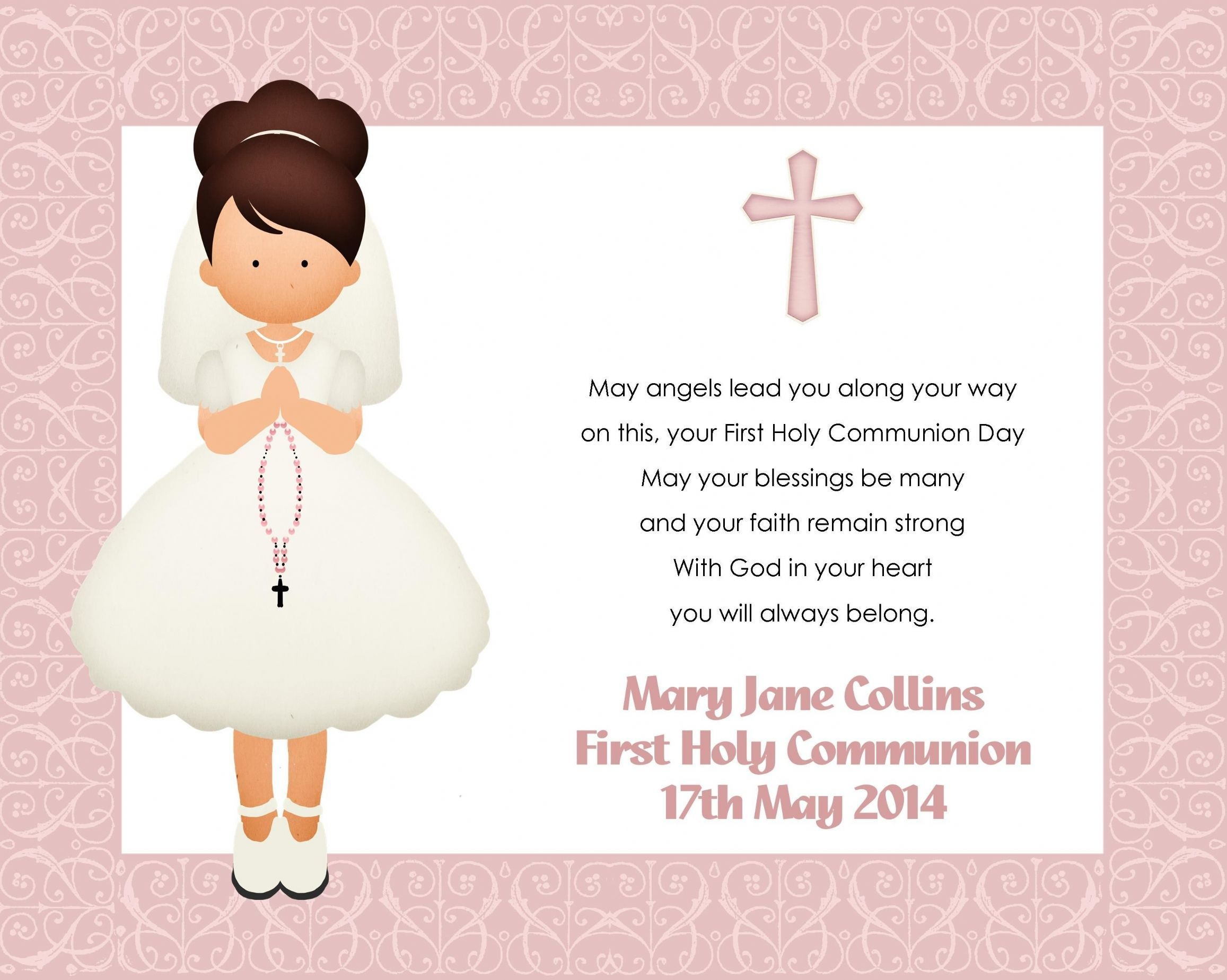 Great Holy Communion Invitation Templates Images Gallery. Baptism - Free Printable 1St Communion Invitations