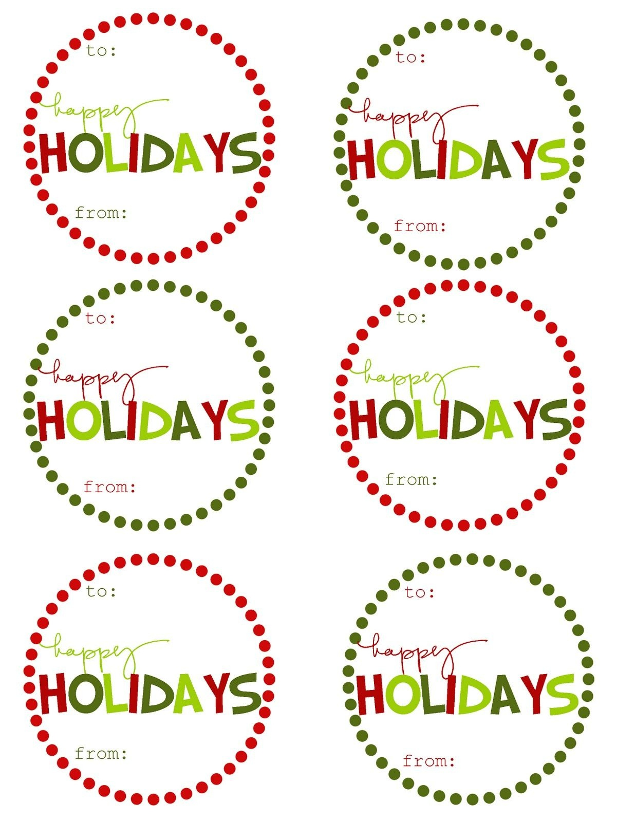 Great Ideas - 22 Free Holiday Printables | Craft Time | Christmas - Free Printable Happy Holidays Gift Tags