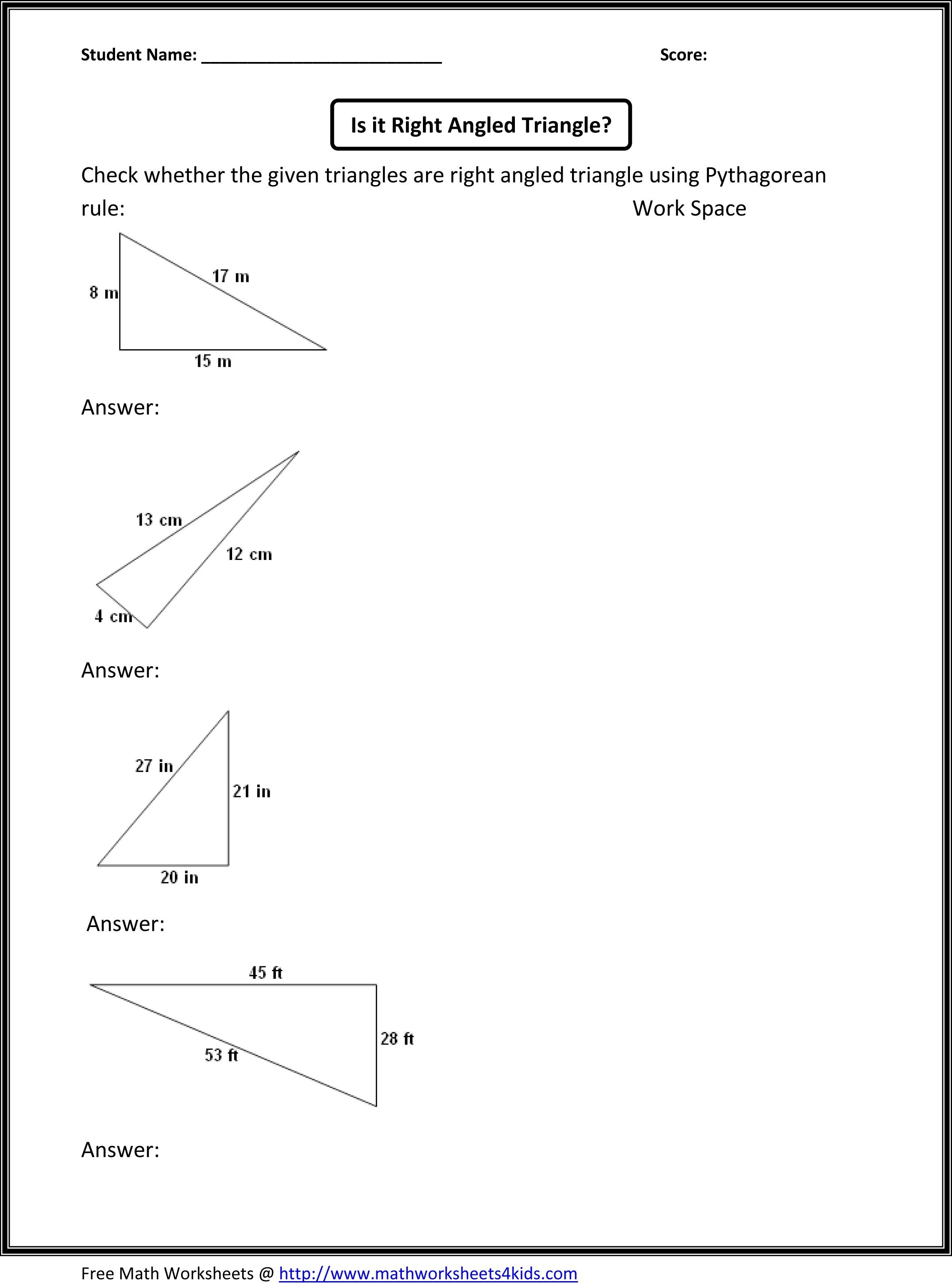 Great Site With Lots Of Eighth Grade Topics | Worksheets | 8Th Grade - Free Printable Pythagorean Theorem Worksheets