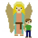 Guardian Angel Free Cross Stitch Pattern | Catholic Sprouts   Free Printable Cross Stitch Patterns Angels