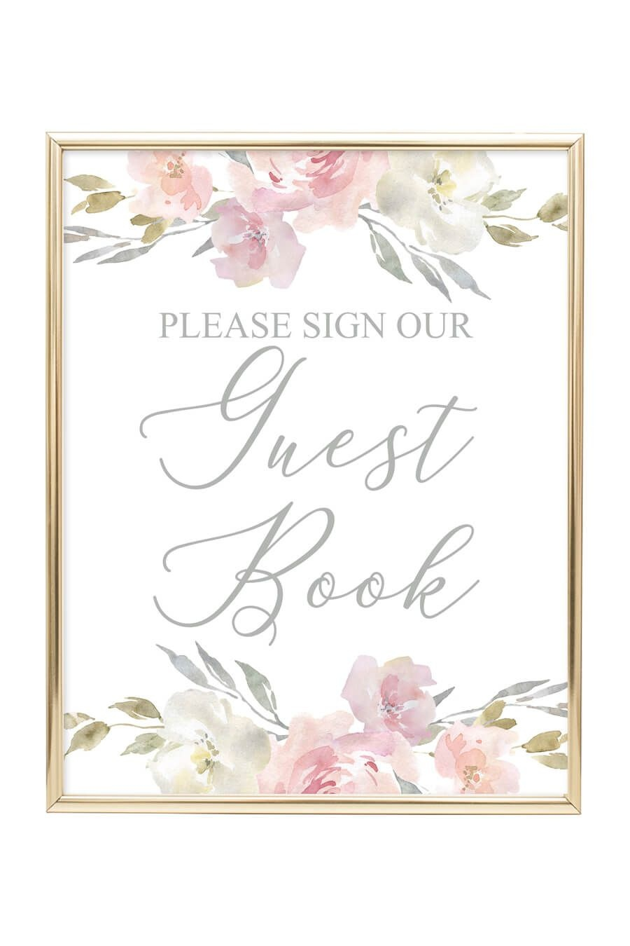 Guest Book Printable Sign (Blush Floral | Idei Pentru Nuntă - Please Sign Our Guestbook Free Printable