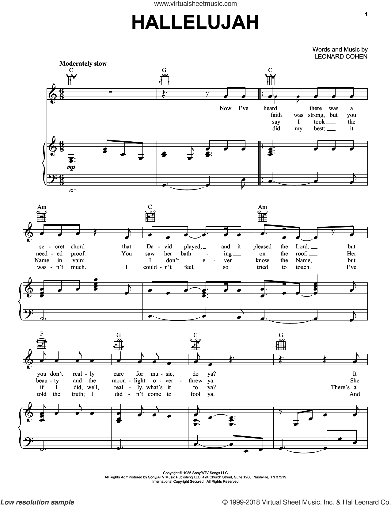 Hallelujah - Free Printable Piano Sheet Music For Hallelujah By Leonard Cohen
